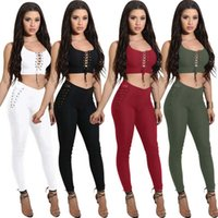 Wholesale Tight Lace Tops - Women Two-Piece Suit Fashion Ladies Hollow Out Sexy PlaySuit Jumpsuit Set Lace up Tight Crop Tops + Bodycon Long Pants Clubwear