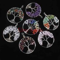 Wholesale Indian Bead Tree - wholesale 10Pcs Silver Plated Natural Gravel Gemstone Winding Round Shape Beads Tree of Life Hearling Ponit Chakra Stone Pendant Jewelry