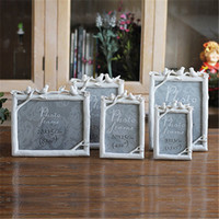 Wholesale Cute Bridal Shower Gifts - 2016 Cute Birds Resin Wedding Photo Frames Home Decor Bridal Baby Picture Shower Favor Frames Gifts White Green
