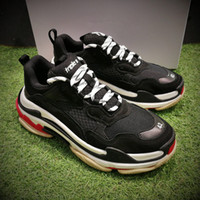 Wholesale Mens Casual Shoes Buckles - Wholesale Retro BL Triple S Sneaker Mens Fashion Vintage Kanye West Old Grandpa Trainers Casual Shoes Size 40-44 With Original Box