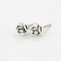 Wholesale Fine Pearl Earrings - Sterling Silver 925 Plated White Gold Stud Earrings Semi Mount for 6-9mm round bead or Pearl Fine Jewelry Setting Women Girl Gift