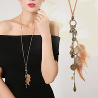 Wholesale Leaves Coins Necklace - Long Necklace Brown Skull head Leaves Feather Coin Pendant Leather Vintage necklace Collier sautoir long Women jewelry