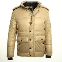 Wholesale Pu Leather Jacket Hood - Wholesale- 2016 new mens down jacket with hood winter down jacket men Keep warm Khaki then fight black PU leather fashion winter coat men