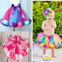 Wholesale Kids Ballet Purple Skirt - Children Rainbow Tutu Dresses New Kids Newborn Lace Princess Skirt Pettiskirt Ruffle Ballet Dancewear Skirt Holloween Clothing HH-S29