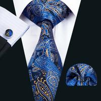ingrosso set di cravatta blu-Cravatta da uomo classica in seta Set cravatta blu Paisley Cravatte da uomo Cravatta Fazzoletti da polso Gemelli Set Jacquard Tessuto da riunione Regalo per feste aziendali N-1447
