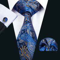 Fast Shipping Silk Tie Classic Silk Mens Necktie Blue Necktie Sets Paisley Men Ties Tie Hankerchief Set Jacquard Woven Business Party N-1447