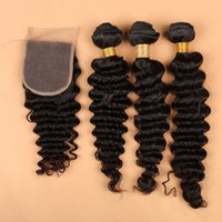 Wholesale Deep Wave Full Head Weave - 7A Lace Closure with Hair Bundles Brazilian Hair Weave Weft Black Color Deep Wave Wavy Human Hair Extensions Full Head Free Shipping Bella