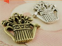 Wholesale China Silver Material Wholesale - A4002 19*20MM Antique Bronze Exquisite and retro DIY material pendant flowers kettle charms, vintage tibetan silver dangle charm China