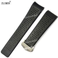 pulseiras venda por atacado-Para tag em estoque relógio bandas 22mm 24mm pulseiras de relógio para tag preto mergulho furos de borracha de silicone banda cinta de aço inoxidável substituição de ouro