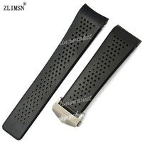 Wholesale Dove Bands - FOR TAG IN STOCK Watch Bands 22mm 24mm Watchbands for Tag Black Diving Silicone Rubber Holes Band Strap Stainless Steel Replacement Golden