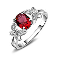 Wholesale Pure Rhodium Jewelry - 3ct Pigeon Blood Red Ruby Ring Pure Solid 925 Sterling Silver Ruby Jewelry Classic Trendy Engagement Wedding Rings Women