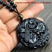 Wholesale Dragon Phoenix Jewelry - Fashion Black Dragon Phoenix Pendant Natural Hand-carved Obsidian Necklace Fine Jade Statues Jewelry For Women Men Free Rope