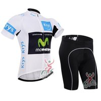 Wholesale Movistar Jersey Bibs - Tour De France 2016 Movistar White Krys cycling jerseys Short sleeves None bib bike wear Quick Dry cycling jersey set XS-4XL