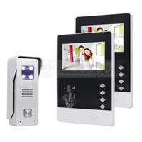 Wholesale Door Ccd - Video Door Phone 4.3 inch TFT Color LCD Display Aluminum Alloy CCD Camera Video Intercom Doorbell 1 Camera 2 Monitors