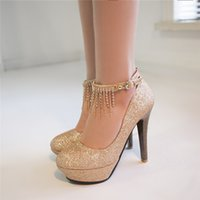 Wholesale Thick Heel Bridesmaids Shoes - spring 2018 with a single sequined shoes red thick with ultra-high word buckle silver gold bridesmaid bridal wedding shoes for women's shoes