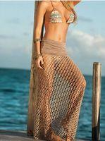Wholesale Net Beach Skirt - New Europe Mesh Beach Half-length Skirt Wrapped Dress Light Brown Bikini Skirt Wisp empty hole in fishing net Promotions