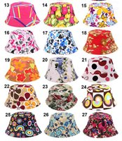 Wholesale Wholesale Basins - 27 Colors 2016 New Fashion Women Summer Bucket Sunhat Wide Brim Flower Printing Basin Canvas Topee Hats Sun Protection Beanie Caps