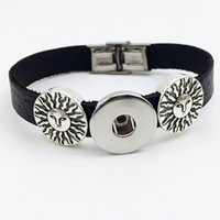Moda vendita diretta One Direction Jewelry Sterling Pulseras Sun Retro in pelle Snap Button Bracciale Bt107 (Fit 18 millimetri 20 millimetri Snap) dre partito