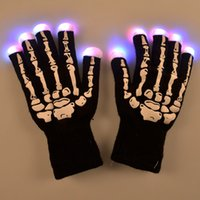 Wholesale Kids Novelty Lighting - LED Skeleton Gloves Light Up Shows Light Up Knit Gloves Light Show Gloves for Party Rave Birthday Halloween Costume Novelty Toy