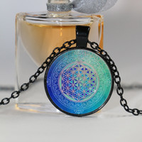 Wholesale Glass Rhinestones Blue - Blue Flower of life Cabochon Glass Tibet Silver Chain Pendant Necklace