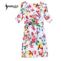 Wholesale Dreess Woman - Wholesale- Summer Style Women Dreess 2017 Fashion Printing casual Dress Short Sleeve O-Neck Bohemian Summer Women Dress Vestidos Plus size