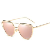 lunettes cateye achat en gros de-Lunettes de soleil yeux de chat 2017 Nouveau Marque Design Miroir Plat Rose Or Vintage Cateye Mode lunettes de soleil Lady Eyewear UV400