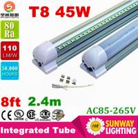 Wholesale Dlc Led Tube - led tube lights 8ft 6ft 5ft 4ft Integrated T8 Tube Lights SMD2835 110lm W High Bright Frosted Transparent Cover AC 85-265V UL DLC
