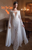 Wholesale Chiffon Bridal Cape - 2017 White Chiffon Long Bridal Cape Lace Applique Bridal Cloak Bridal Prom Party Wrap Wedding For Events Bridal Accessory Custom Made
