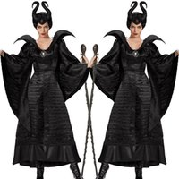 Wholesale Women Sleeping Beauty Costume - Sleeping curse costumes Adlut Maleficent Cosplay Halloween Costumes for Women Female Witch Cosplay Black Christening Gown Costume