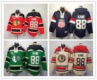 Wholesale Usa Olympics Hoodies - New Red Chicago Blackhawks 88 Patrick Kane Hoodies Sweatshirts Green Hockey Olympic Patrick Kane USA Hoodies Jersey CCM Old Time