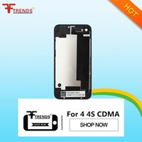 Wholesale 4g Flash - Back Glass Battery Housing Door Back Cover Replacement Part With Flash Diffuser for iPhone 4 4G CDMA 4S Black White Free Shipping
