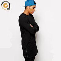 Wholesale Wholesale Oversized Shirts - Wholesale-Oversized T Shirt Blank Long Tee with Side Zip Fashion Streetwear Longline T Shirt for Men Hop Hop Tshirts Free Shipping