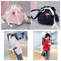 Wholesale Mini Cute Bucket - Girls Cute Flamingo Shoulder Bags Drawstring Bag Mini Bucket Bag Messenger Bags Women Crossbody Handbag LJJK779