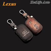 lexus schlüsselkastenabdeckung großhandel-Lexus IS250 RX LS LX GX GT Autoschlüsselanhänger aus echtem Leder Carve Key Case Cover 3 Tasten Smart Autoschlüsselkette Auto Zubehör