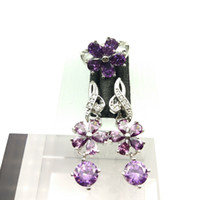 Wholesale Gorgeous Jewelry Boxes - New style jewelry gorgeous lilac color suit for female 925 silver necklaces and earrings ring size 879 free jewelry boxes