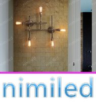 Wholesale decorative lamp pipe resale online - nimi1080 Lights American Retro Vintage Cafe Industrial Decorative Balcony Aisle Wall Lamps Restaurant Bar Iron Pipe Lights Lighting