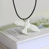 Wholesale Original Painting Handmade - White dove Handmade original design hand-painted ceramic necklace pendant Creative artistic accessory Gifts