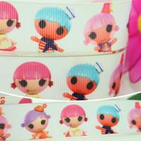 """Wholesale Grosgrain Ribbon Lalaloopsy - 7 8"""" 22mm Cartoon Cute Lalaloopsy Dolls Printed Grosgrain Ribbon Bows Diy Materials Craft Decos Sewing A2-22-67"""