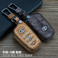 Alta qualità per Toyota Highlander REIZ Corolla Camry 3 pulsanti Smart Leather 100% Genuine Leather Graffiti Telecomando Auto Keychain chiave Au