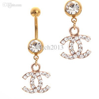 Wholesale Dangle Crystal Belly Bars - Wholesale-2016 New Arrivel Sex Brand Gold Belly Bars 10pcs Trendy Dangle Belly Rings Navel Belly Piercing With Crystal Fashion Piercing