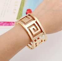 Wholesale Thick Bangle Bracelets - Trendy Thick Metal Geometric Hollow Bangles Women Maxi Punk Bracelet Plating Gold Smooth Alloy Wide Opened Cuff Bangle Accessory