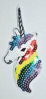 Wholesale Fantasy Appliques - flash sequin ~ Unicorn fantasy horse greek pegasus 70s retro applique iron on patch