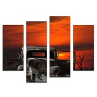 Amosi Art-4 Pieces Wall Art de un viejo coche y Sunset Tree Painting Pictures Imprimir sobre lienzo The Picture For Home Decor con madera enmarcada