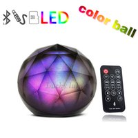 Wholesale Mini Ball Speaker Dhl - Christmas Xmas!Mini Magic Color Ball wireless Bluetooth Portable Ball Speaker with remote control home LED Flash Light Best DHL free