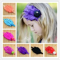 Wholesale Kids Headbands Made - New Baby girls feather Headbands Hand made Rose pearl feather Ornaments hairbands Kids headwear Children hair accessories 15 colors KHA33