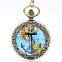 Wholesale Map Stationary - Fashion Bronze Map of Americas and Anchors Quartz Pocket Watch Analog Pendant Necklace Mens Womens Watches Gift