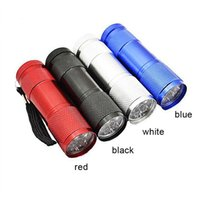 Wholesale Uv Free Lighting - Free Shipping Aluminum Alloy Portable UV Flashlight Violet Light 9 LED 30LM Torch Light Lamp Mini Flashlight 4 Color 2503029