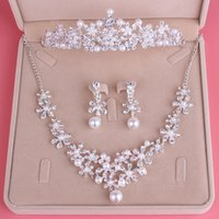 Wholesale Cheap Earring Chains - Fashion Luxury Bridal Jewelry Rhinestone Pearl Necklace Crown Earrings Wedding Dresses Cheap Free Shipping Wedding Accessories Three Pieces