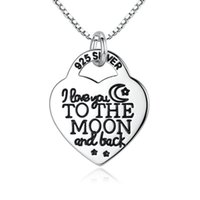 Wholesale Locking Heart Necklace - Solid 925 Sterling Silver Pendant Necklace Heart Lock Lettering Necklace I Love You To The Moon And Back Luxury Fine Jewelry N007