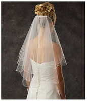 Wholesale Wedding Veil Tier Beaded - Women's 2 Tier Spark Bridal Pearl Wedding Veil With Comb 11001
